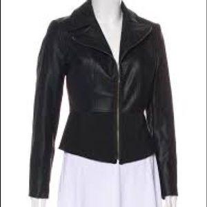 Tahari Faux Leather Panelled Zip Up Jacket Sz 8